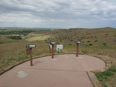 Markers on the Little Bighorn Battlefield image. Click for full size.