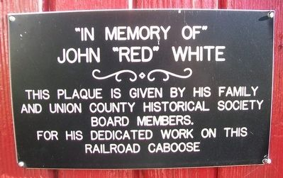 "Caboose Marker Honoring John ""Red"" White image. Click for full size."