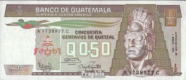 1/2 Quetzal Note (1986 Series) image. Click for full size.