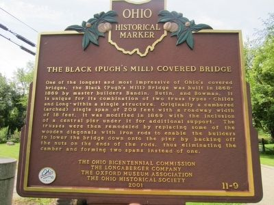 The Black (Pugh's Mill) Covered Bridge Marker image. Click for full size.