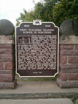 First Teachers Training School in Wisconsin Marker image. Click for full size.