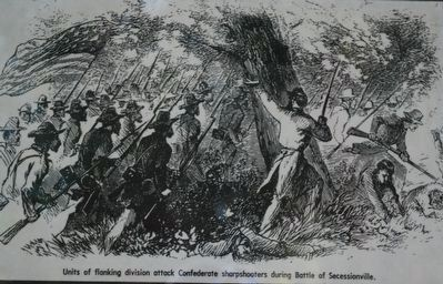 Units of flanking division attack Confederate sharpshooters during Battle of Secessionville image. Click for full size.
