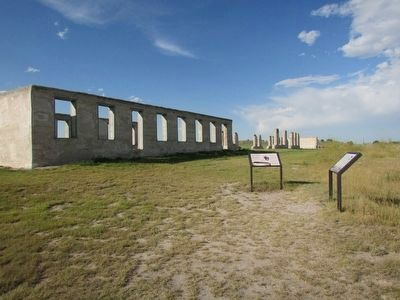 Markers at Fort Laramie image. Click for full size.