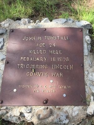 John H. Tunstall Murder Site Plaque image. Click for full size.