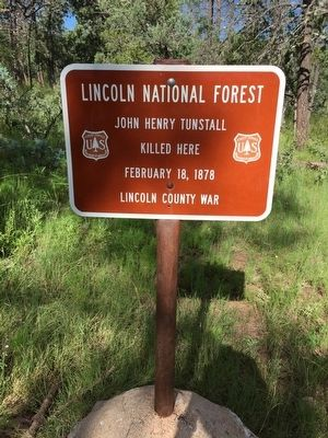 Forest Service John H. Tunstall Murder Site Marker image. Click for full size.