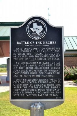 Battle of the Neches Marker image. Click for full size.