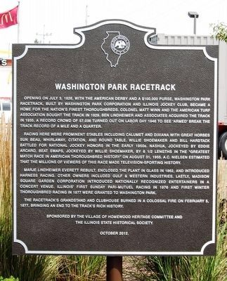 Washington Park Racetrack Marker image. Click for full size.