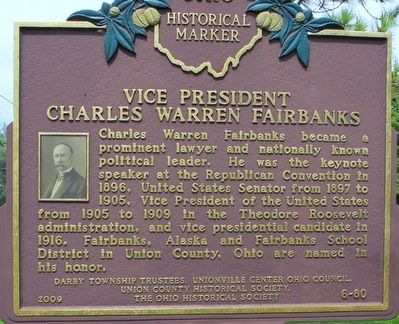 Vice President Charles Warren Fairbanks Marker image. Click for full size.