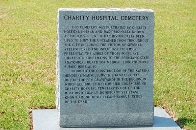 Charity Hospital Cemetery Marker image. Click for full size.