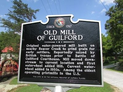 Old Mill of Guilford Marker image. Click for full size.