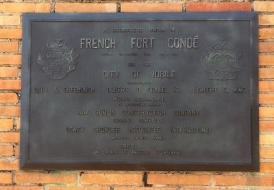French Fort Condé reconstruction plaque. image. Click for full size.