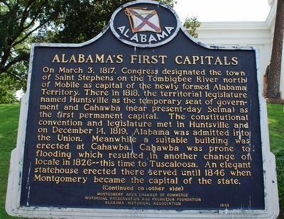 Alabama's First Capitals / The Alabama State Capitol Marker image. Click for full size.