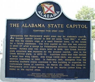 Alabama's First Capitals / The Alabama State Capitol Marker image, Touch for more information