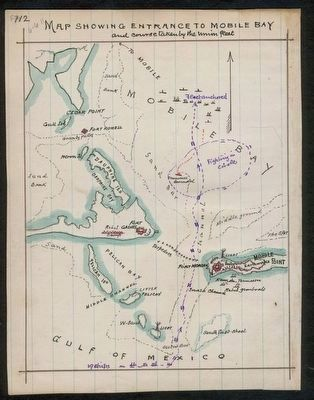 Map showing entrance to Mobile Bay and course taken by Union fleet. image. Click for full size.