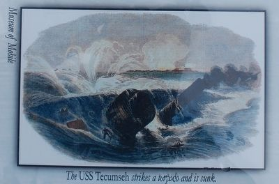 The USS Tecumseh strikes a torpedo and is sunk image. Click for full size.