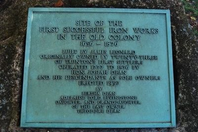 Site of the First Successful Iron Works in the Old Colony Marker image. Click for full size.