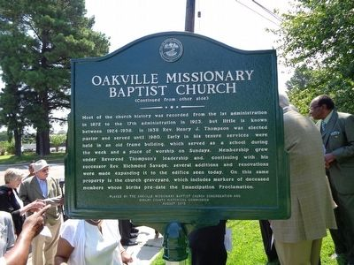 Oakville Missionary Baptist Church Marker image. Click for full size.