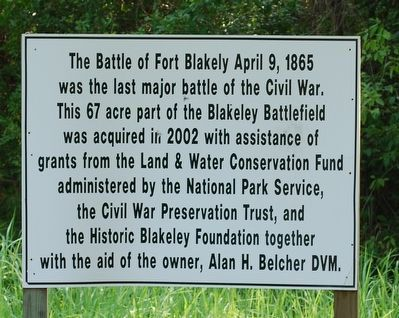 The Battle of Fort Blakely Marker image. Click for full size.