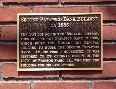 Second Patapsco Bank Building Marker image. Click for full size.