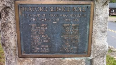 Rixford World War I Memorial Marker image. Click for full size.
