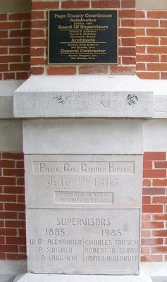Page County Courthouse Marker and Cornerstone image. Click for full size.