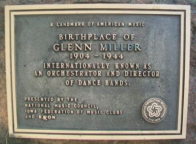 Birthplace of Glenn Miller Marker image. Click for full size.