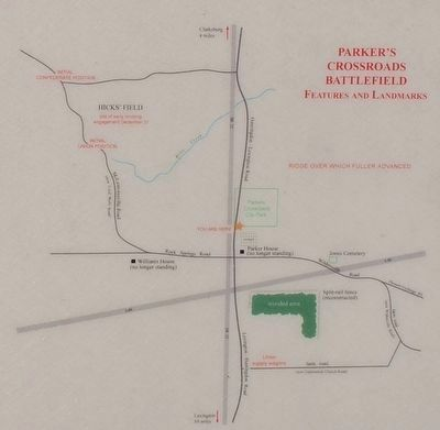 The Battle of Parker's Crossroads Marker Map image. Click for full size.