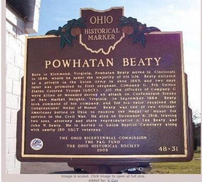 Powhatan Beaty Marker image. Click for full size.