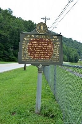 John Gilbert, Sr. Memorial Highway Marker image. Click for full size.