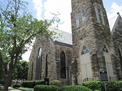 Negro Fine Arts School Marker and First United Methodist Church image. Click for full size.