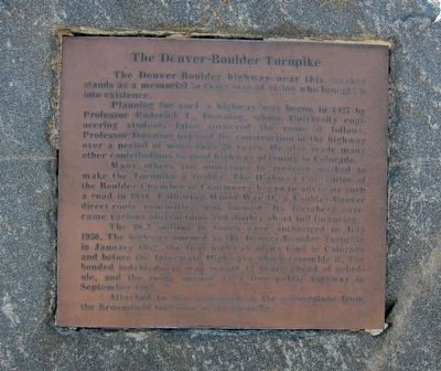 The Denver-Boulder Turnpike Marker image. Click for full size.