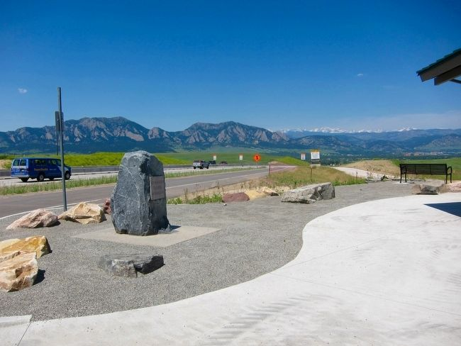 The Denver-Boulder Turnpike Marker - Wide View image. Click for full size.