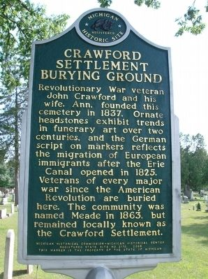 Crawford Settlement Burying Ground Marker image. Click for full size.