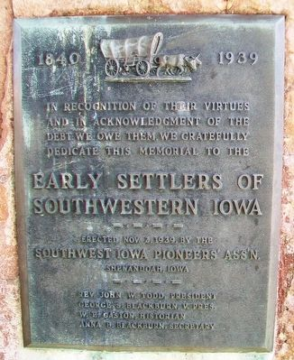 Early Settlers of Southwestern Iowa Marker image. Click for full size.