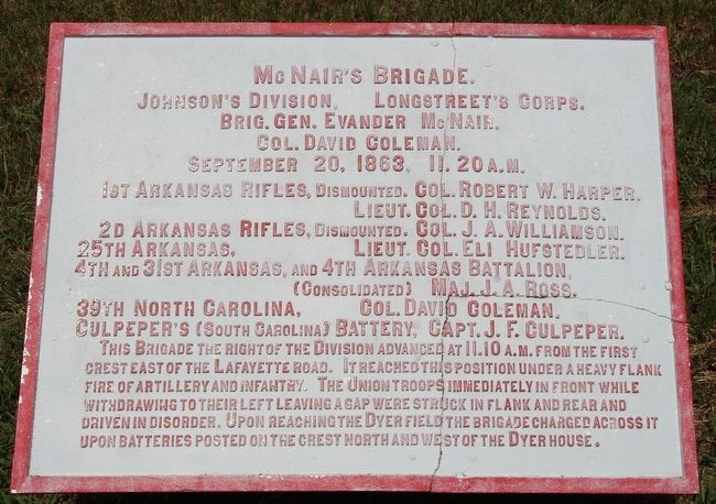 McNair's Brigade Marker image. Click for full size.