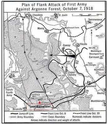 Lost Battalion Map image. Click for full size.