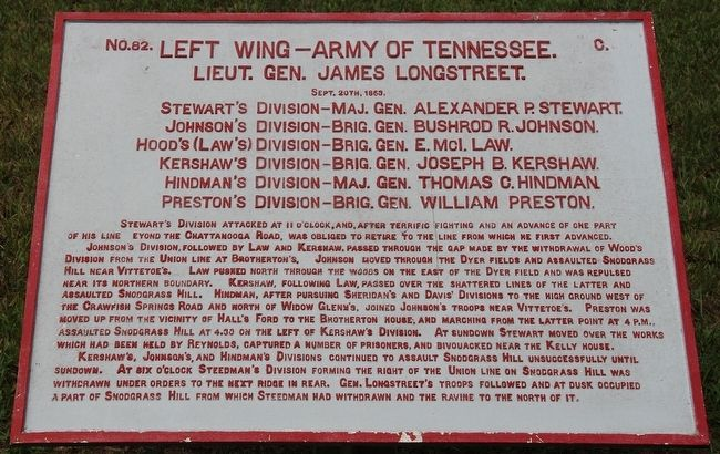 Left Wing - Army of Tennessee Marker image. Click for full size.