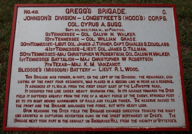 Gregg's Brigade Marker image. Click for full size.