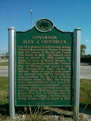 Governor Alex J. Groesbeck Marker image. Click for full size.