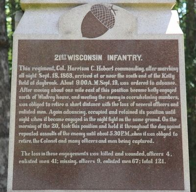 21st Wisconsin Infantry Marker image. Click for full size.