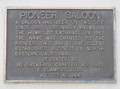 Pioneer Saloon Marker image. Click for full size.