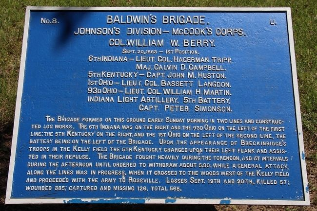 Baldwin's Brigade Marker image. Click for full size.