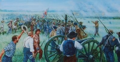 Pickett's Charge Marker- Gil Cohen painting image. Click for full size.
