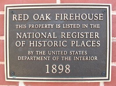 Red Oak Firehouse Marker image. Click for full size.