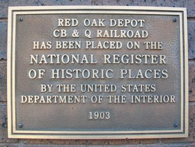 Red Oak Depot NRHP Marker image. Click for full size.