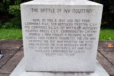 The Battle of Ivy Mountain Marker Inscription image. Click for full size.