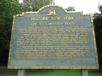The St. Lawrence Plain Marker image. Click for full size.