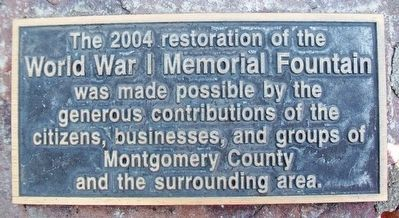 World War Memorial Fountain Restoration Marker image. Click for full size.