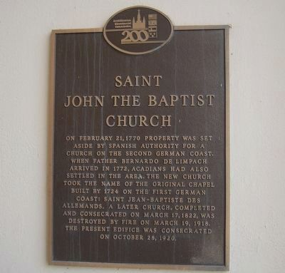 Saint John The Baptist Church Marker image. Click for full size.