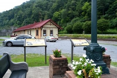 Matewan Markers in Front of Replica Train Depot image, Touch for more information